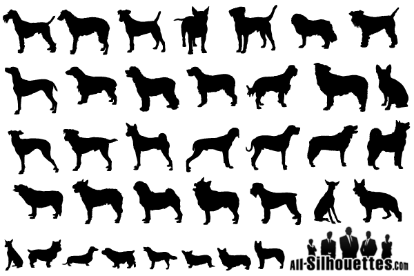 Dog Silhouette Vector Free Download Vector Dogs Silhouettes Free