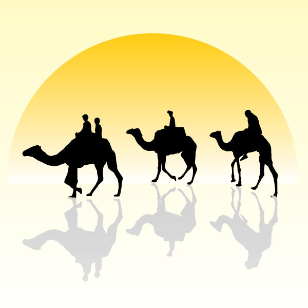 Vector Camel Caravan Silhouette in the Sunset Wallpaper