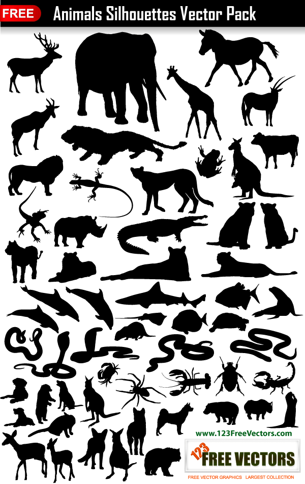 Animals Silhouettes Collection Vector Pack