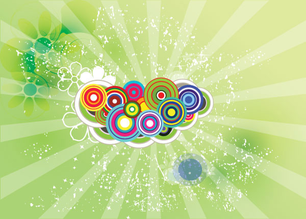 045-Green Swirly Flowers Free Vector