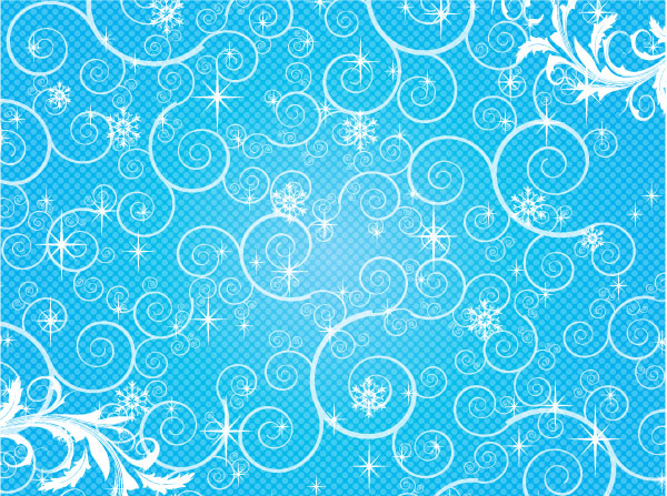 Swirly Snow Shapes Vector Background