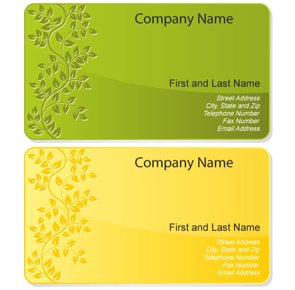 Free floral design business card template vector for Business cards templates free download