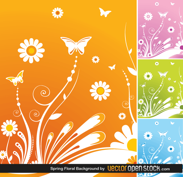 Free Spring Flower Background Vector Graphics