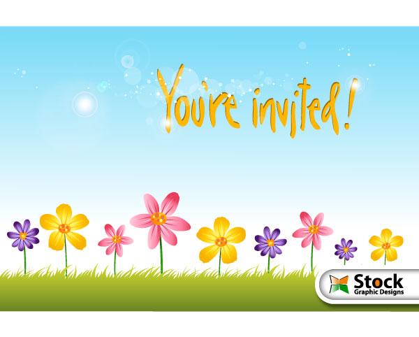 Flower Invitation Background Design Vector – Free Invitation Backgrounds
