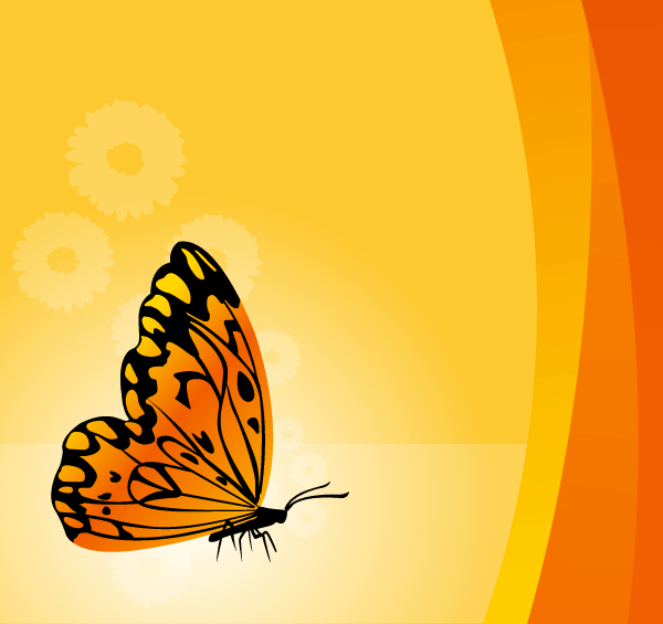 Free Vector Floral Background with Butterfly