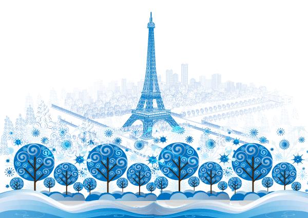 Vector blue paris background graphics download free for Color design paris