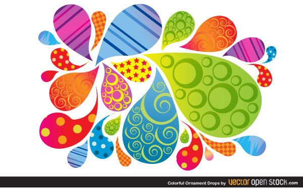 Vector Colorful Ornament Drops