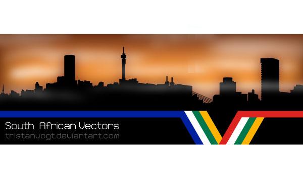 Johannesburg Skyline Silhouettes Vector Download Free