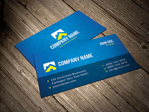 Free Blue Business Card Template Vector