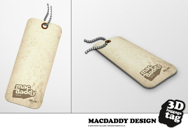 3D Luggage Tag Free Vector