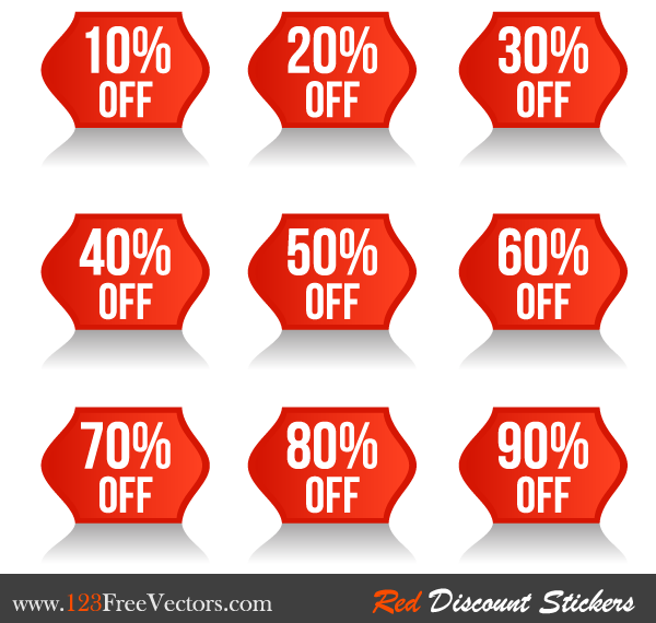 Red Discount Stickers Vector Free