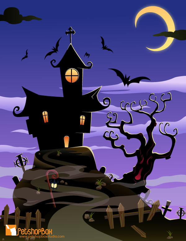 Haunted House Halloween Background | Free Download Happy ...