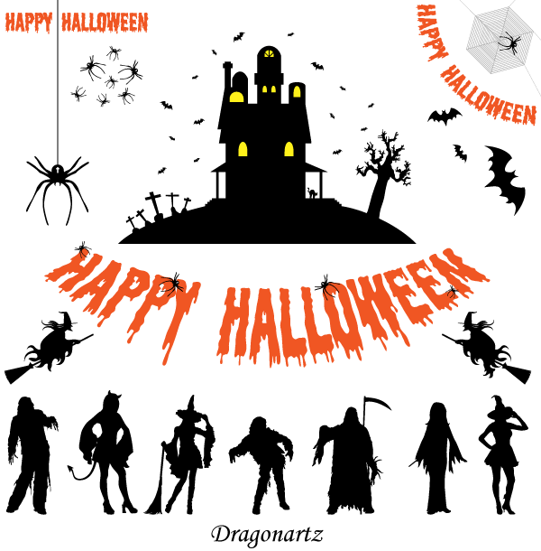 Halloween Silhouettes Free Vector Graphics