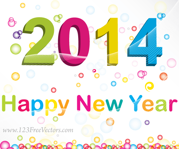 Happy New Year 2014 Vector Background
