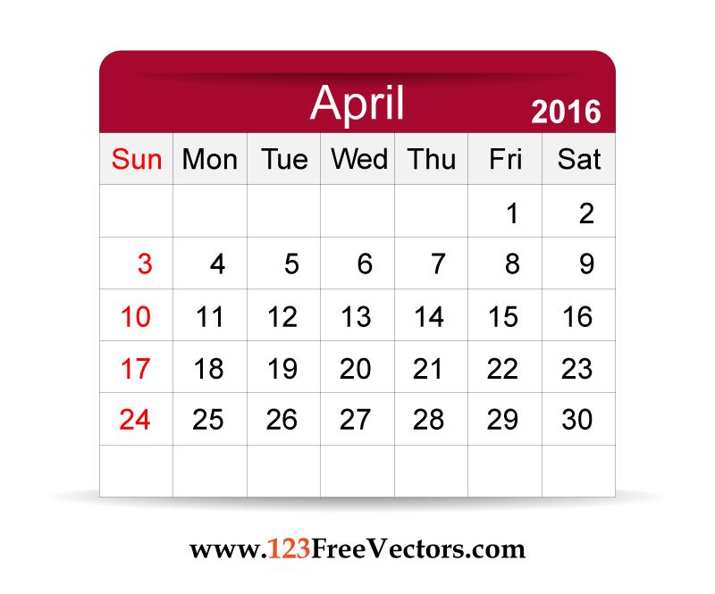 Free Vector 2016 Calendar April | Download Free Vector Art | Free ...