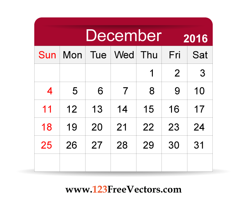 Free Vector 2016 Calendar December | Download Free Vector Art | Free ...