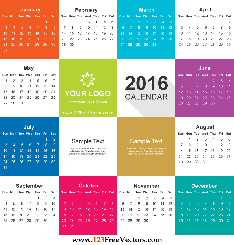 2016 Calendar Vector Free Download