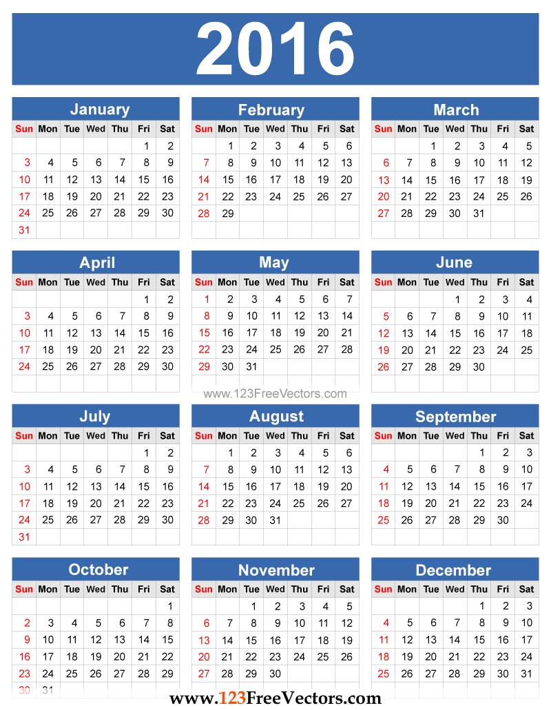 Download incredible calendar 2016 editable New Wallpapers, Pictures ...