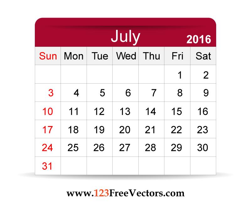 Free Vector 2016 Calendar July | Download Free Vector Art | Free ...