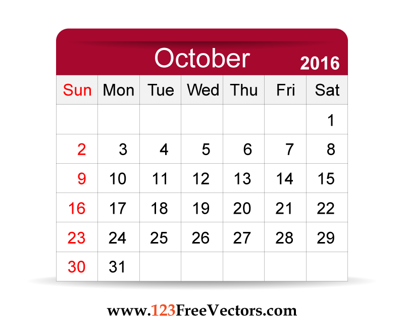 Free Vector 2016 Calendar October | Download Free Vector ...