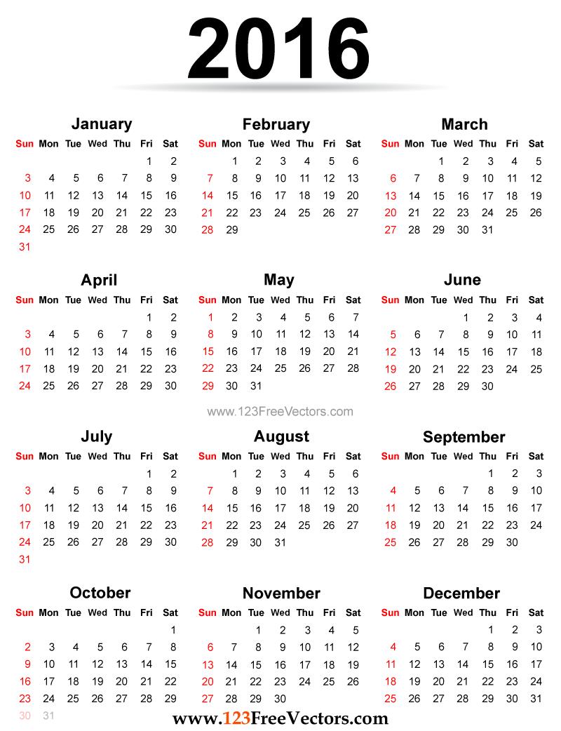 Adorable 10 Printable Calendar 2016 Design Decoration Of 2016