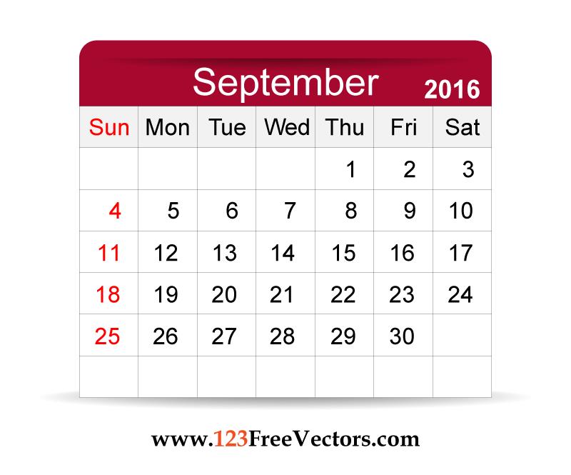 Free Vector 2016 Calendar September | Download Free Vector Art | Free ...