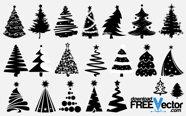Christmas Tree Silhouette Vector Free Tree Vector Silhouettes