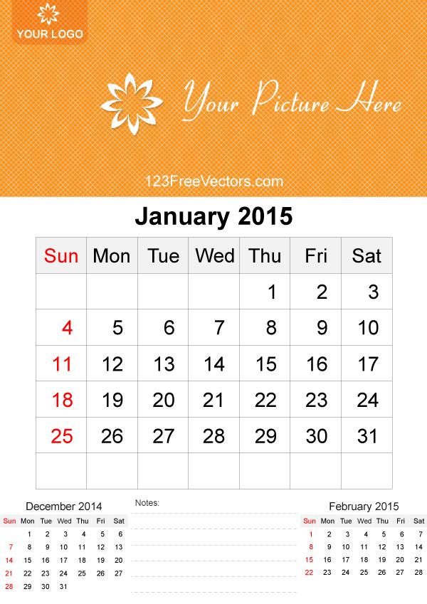 January Calendar 2015 With Holidays : January calendar template vector free download