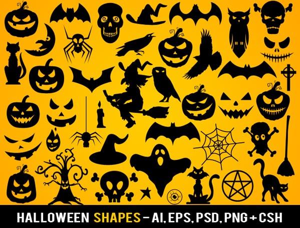 Halloween Vectors halloween vector art pack vol2 Halloween Vector Photoshop Shapes