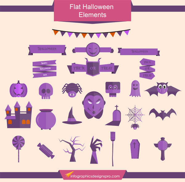 Flat Halloween Vector Graphics
