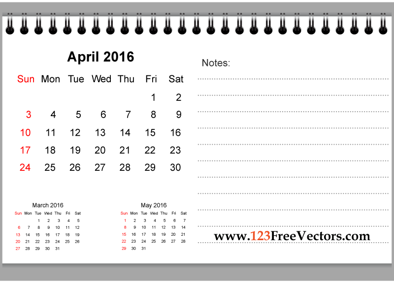 April Calendar With Notes : April printable calendar with notes download free