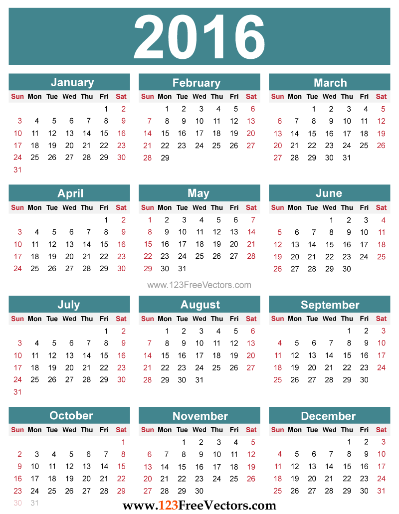 2016 Calendar With Us Holidays Printable | Calendar Template 2016