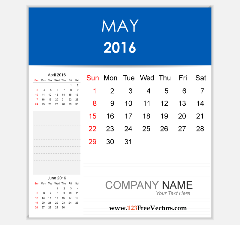 Editable Calendar May 2016 | Download Free Vector Art ...