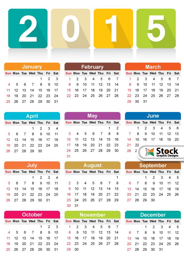 Free Colorful Calendar 2015 Vector Template