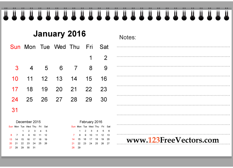 January 2016 Printable Calendar with Notes   Download Free Vector Art ...