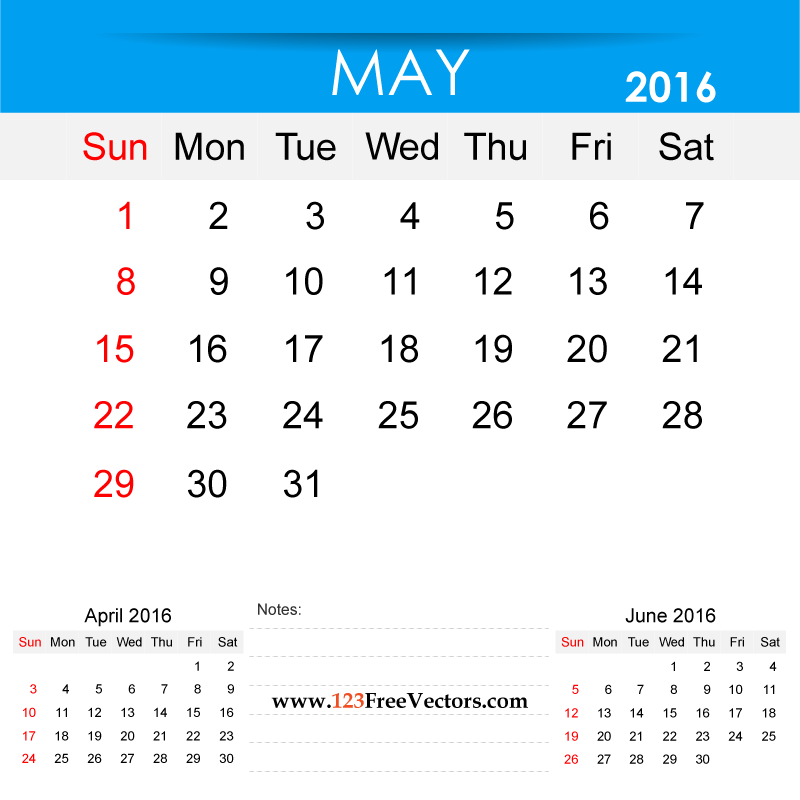 May 2016 Calendar Printable | Download Free Vector Art | Free-Vectors