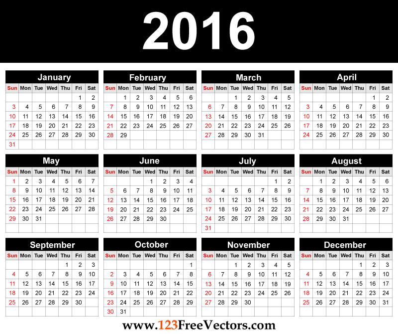 printable 2016 calendar template free vector