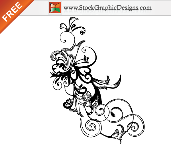 Free Hand Drawn Swirl Floral Vector