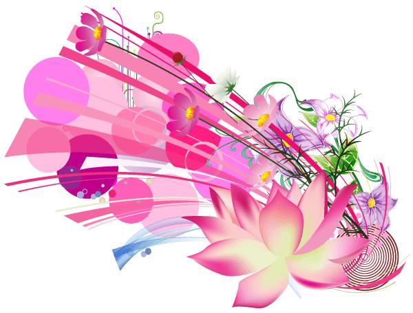 Vector Beautiful Pink Lotus Flower