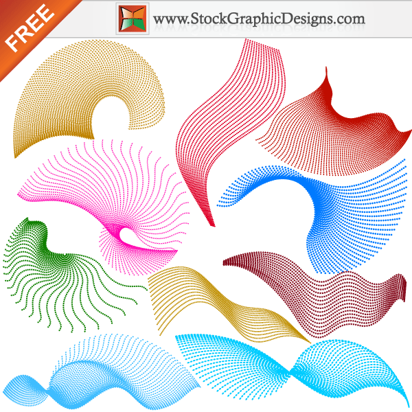 Colourful Flowing Curves With Shapes Free Vector Elements