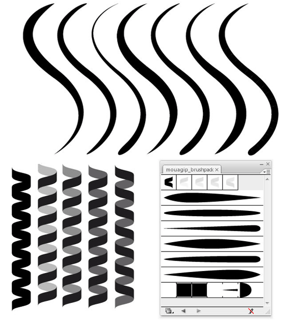 Line Art Brushes Photo : Coil and line illustrator brushes download free vector