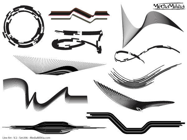 Line Art Media Design : Line art design elements vector set download free