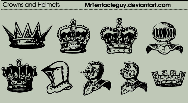 Heraldic Crowns And Helmets Vector