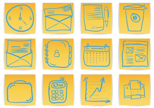 Free Hand Drawn Office & Business Icons Vector | Download Free ...