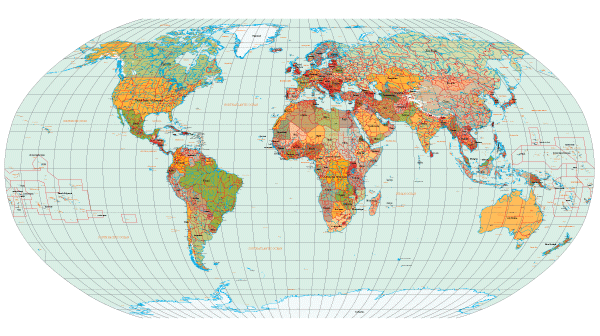 Free Vector World Map with Countries Names