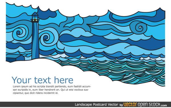Landscape postcard design vector free vector