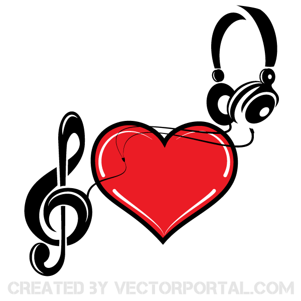 Music of Love Heart Vector Image