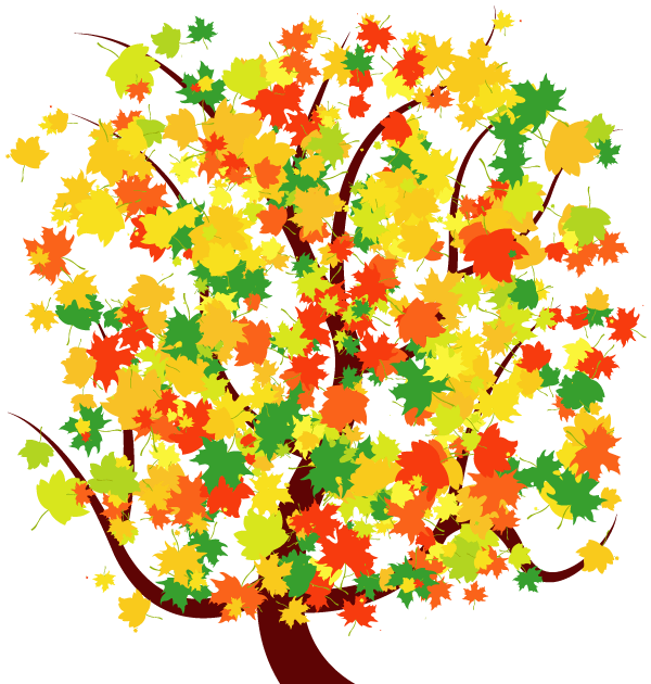 Autumn Tree with Colorful Falling Leaves