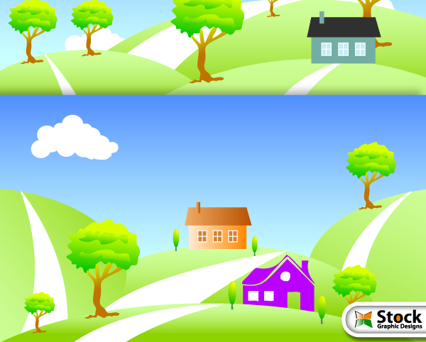 Nature Landscape with House Vector Free
