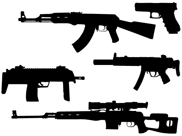 Machine Gun Vector Silhouettes Free | Download Free Vector ...